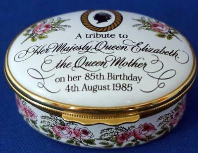 Halcyon Days Enamel Trinket Box Limited Edition Queen Mother 85th Birthday
