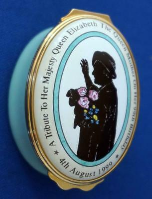Halcyon Days Enamel Trinket Box Queen Mother 99th Birthday Limited Edition