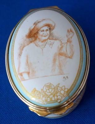 Halcyon Days Enamel Trinket Box Queen Elizabeth Queen Mother 100th Birthday