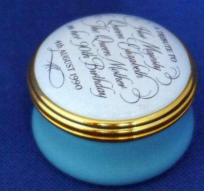 Halcyon Days Enamel Trinket Box Queen Mother 90th Birthday