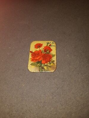 Vintage Picture Tin Plaque Religious Holy Christian Catholic roses