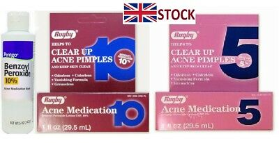 Rugby 10%, 5% benzoyl peroxide acne medication pimple,spots, blackhead liquid