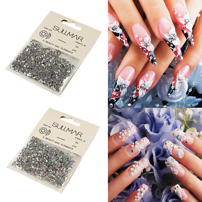 1440Pcs A/AB Nail Art Rhinestone Glitter Crystals 3D Bling Manicure Decoration