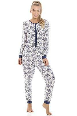 Camille Womens Nightwear Navy Blue Floral And Leaf Print White All In One Pyjama