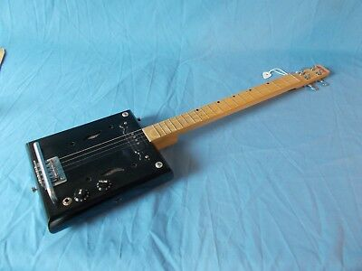 cigarbox 4 string electric black guitar with F holes 19 frets