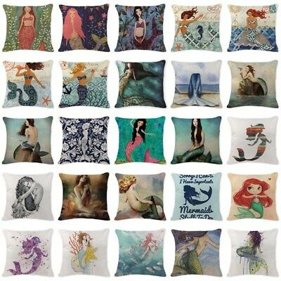 Cushion Cover Ocean Style Mermaid Pillowcases Meditation Large Cotton Lounger