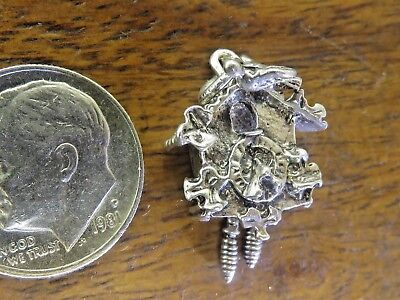 Vintage silver GERMAN ANTIQUE MOVABLE PENDULUM CUCKOO CLOCK PENDANT charm