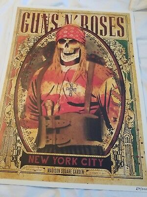 Authentic GUNS N ROSES Limited Edition AXL Lithograph MSG/NYC Show #274/300