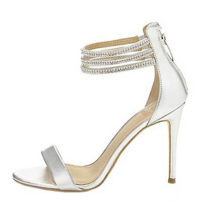SCARPA DONNA GUESS Sandalo Leather Kathy Strass Silver 118