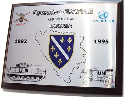 British Armed Forces Operation Grapple Bosnia Banja Luka Vitez Unprofor  Plaque