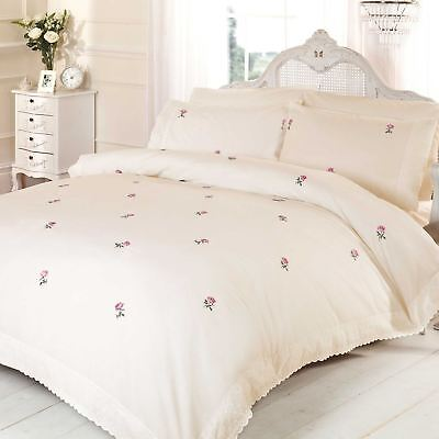Alicia Floral Cream / Pink King Size Duvet Cover Set Embroidered Bedding