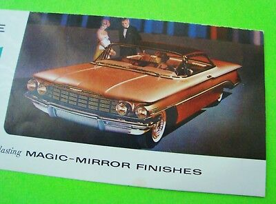 scarce 1960 OLDSMOBILE FACTORY COLOR CHIPS FOLDER BROCHURE Magic Mirror Finishes