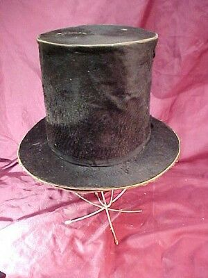1860s  MENS Silk STOVE PIPE Style TOP HAT w STRAIGHT BRIM Abe Lincoln Look