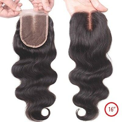 Brazilian Hair Lace Closure ''16'' Middle Parting Body Wave Human Hair