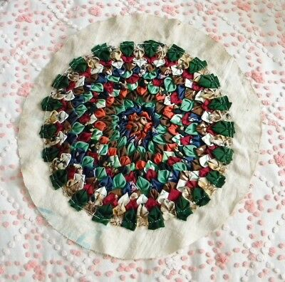 Single Antique Vintage Round Floral Hand Sewn Quilt/Pillow Block Ties Feed Sack