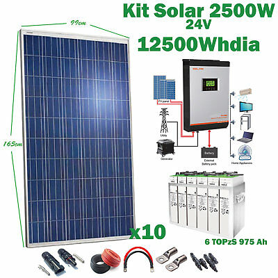 Kit Solar 24v 2500w Inverter 5kva MPPT 80Ah Hybrid Battery 6TOPzS 975Ah