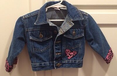 Girls Blue Jean Jacket Sz 12-24 Mo Embroidered with Pink Hearts Leopard Print