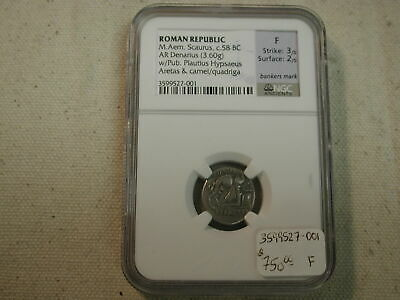 Roman Republic 58 BC Saurus Denarius  NGC Fine with bankers mark