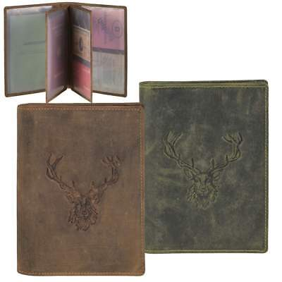 Greenburry Hunting License Case Leather Stag 6 Compartments Id Card Holder Wbk