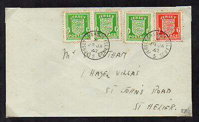 Jersey 1941 1d Scarlet Arms and 1942 ½d Green Arms on 2 Cover
