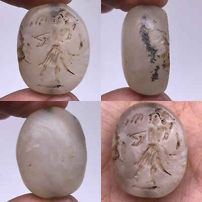 Crystal Antique Old Emperor Seal intaglio face stone amulet bead