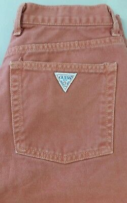Vintage '80 Guess Womens High waisted tapered jeans sz 31 Orange wash 28 x 28