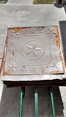 """Lot of 4 - 24"""" x 24"""" (16 sq feet) Antique 1800's Pressed Tin Ceiling Tile"""