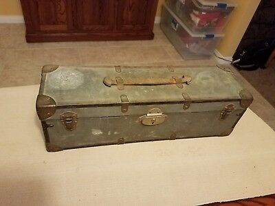 Antique metal-clad wooden tackle box -  removable wooden trays