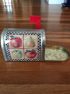 Vintage -  Tin Metal Apple Mailbox, Container, Canister