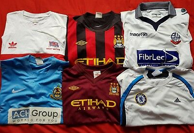 Joblot Of 6 Football Shirts, Inc Manchester City And Chelsea, Various Sizes