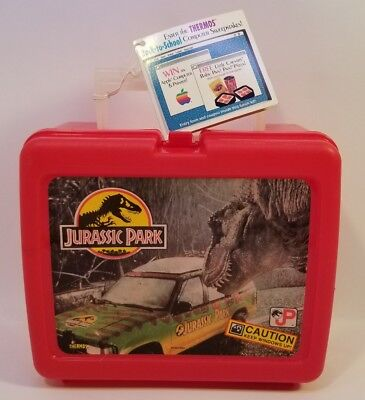Vintage Jurassic Park Lunch box W/BIO-HAZARD Thermos NOS 1992 Unused with Tag