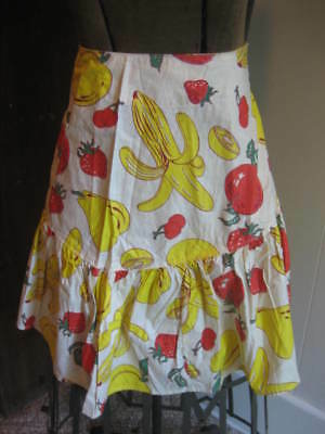 Vintage Mid-Century Ladies Apron Fruit Print Strawberries Banana Cherries Apple