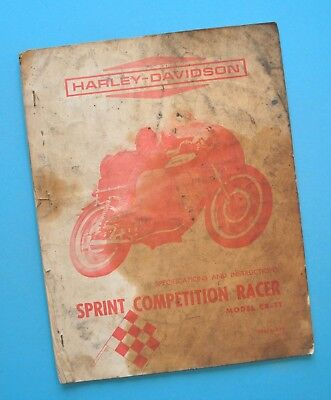 Original 1961-1964 Harley CRTT Sprint Competition Race Motorcycle Service Manual