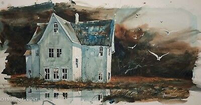 """Beautiful Vintage Watercolor Gouache Painting """"House w Reflection"""" Signed French"""