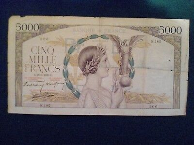 France 5000 Francs 1939 Large Note With Issues