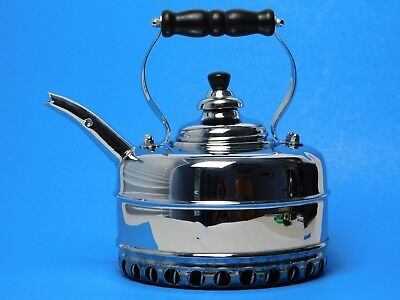 Simplex Solid Copper Chrome Plated Tea Kettle with Coils for Gas Stove, England