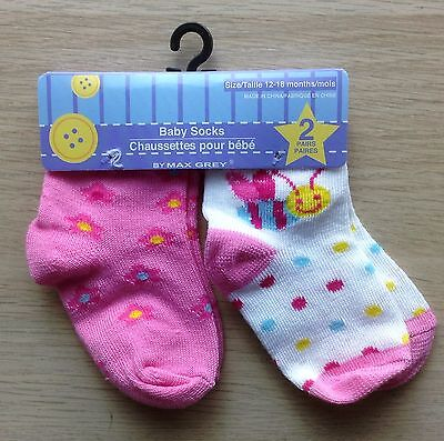 Max Grey 18 - 24 Months 2 Pack Baby Socks (NWT) Pink & White