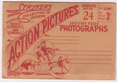 John Stryker Rodeo Cowboys and Cowgirls Fold Out Booklet, 20 images c1940's