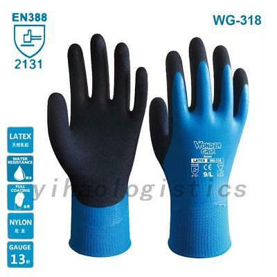 Wonder Grip Gloves Genuine WG-318 EN388 Latex Waterproof Safety Work Gloves US
