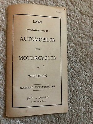 Vintage Booklet of Laws for Automobiles and Motorcycles in Wisconsin 1915
