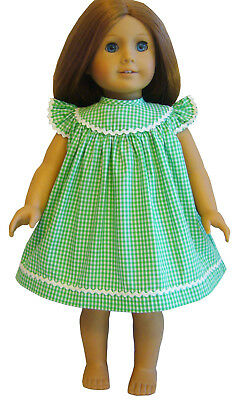 """For 18"""" American Girl Doll Clothes Spring Green Gingham Sun Dress Angel Sleeves"""