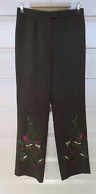 G2 (George Gross) funky moccha vintage embroidered pants size 10 (US 6)