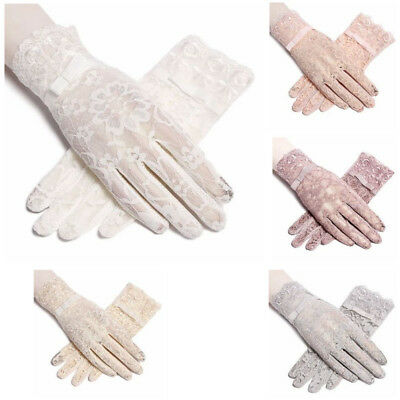 Protective Gloves Sun Anti UV Summer Driving Lace Thin Touch Screen For Women