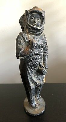 Fine Antique Japanese Korean Cast Iron Woman Art Statue Sculpture NICE NR