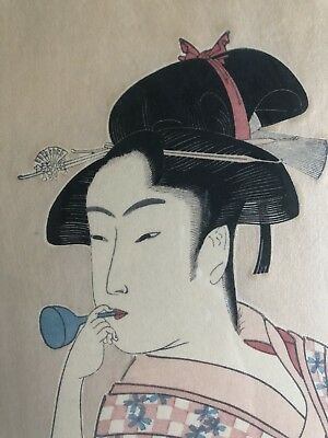 UTAMARO KITAGAWA Japanese POPEN O FUKU MUSUME Woman Blowing Glass Woodblock Art