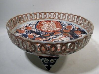 Antique CHINESE Porcelain IMARI Footed Reticulated Bowl Finely Decorated Qing