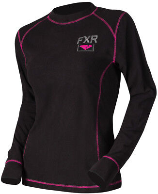 FXR Womens Black/Fuchsia Pyro Thermal Snowmobile Base Layer Top Snocross