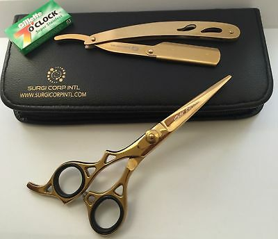 "Professional Hairdressing Scissors Barber 6"" Gold LEFT HAND RAZOR AND BLADES"