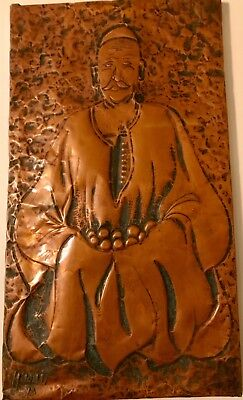 Vintage Hand Hammered Copper Chinese Priest Picture Signed by Artist