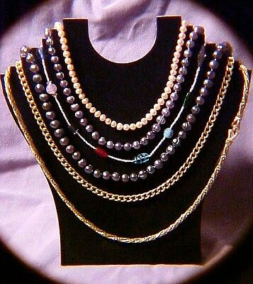 Black necklace jewelry display holds 6 necklaces low $ jd007